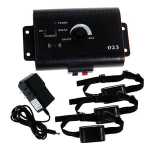 New 3-Dog Electric In-Ground Electronic Pet Dog Fence Containment systm 3 Collar