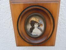 Tableau miniature peinte portrait femme au chapeau