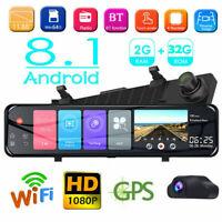 "1080P 12"" 4G Android WIFI Car GPS Rearview Mirror Dashcam ADAS Recorder 2G+32G"