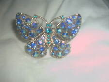BUTLER & WILSON GOLD TONE TURQUOISE CRYSTAL BUTTERFLY RING