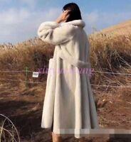 Chic Womens Long Coats Faux Fur Furry Thicken Winter Warm Jacket Parkas Outwear