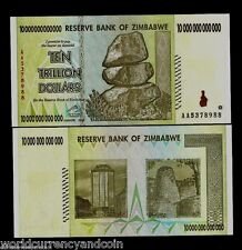 ZIMBABWE $10 Trillion x 10 = 100 Trillion Dollars 2008 AA UNC CURRENCY Bill Note