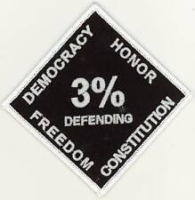 Biker Militia 3% Percent Democracy Honor Freedom Constitution White on Black