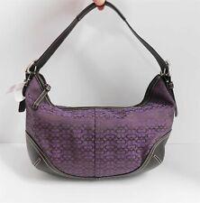 New Coach 6026 Purple Mini Signature Canvas Leather Hobo Shoulder Bag $228