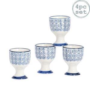 Ceramic Egg Cup Cups Kitchen Breakfast Porcelain Dining - Blue Flower - x4