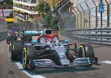 Art card 2019 Monaco GP winner Mercedes W10 #44 Lewis Hamilton, Toon Nagtegaal