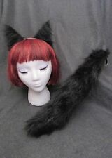 Black Cat Ears, Tail, or Set-YOU CHOOSE-Soft Faux Fur, Great Dog, Anime Kitty