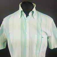 Lacoste Mens Shirt 39 (SMALL) Short Sleeve Green Regular Fit Striped Cotton