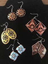 New Handmade Turkish Copper Dangle Earrings, 5 Pairs, Gift Set Party Favors