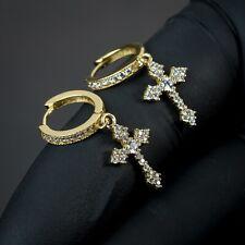 Men Dangle 14K Gold Sterling Silver Hanging Iced Cross Huggie Drop Hoop Earrings