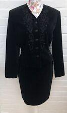 Vintage Laura Ashley Black Velvet Skirt Suit 10 12 Formal Steampunk Victorian