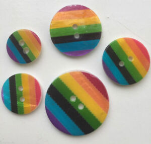 Rainbow Shell Buttons Stripe Gay Pride 15mm 20mm 23mm 28mm 2 Holes Craft Sewing