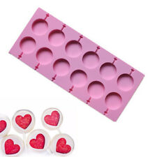 12 Capacity Round Shape Silicone Lollipop Mould Tray Candy Lollypop Mold Sticks