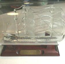 Mayflower Glass USNS Lincoln SHIP IN A BOTTLE Sails Wood Base