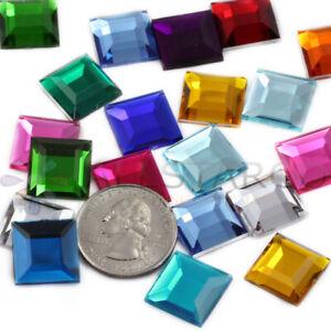 Square Rhinestones Multi-Color 15mm Flat Back - 75 Pcs