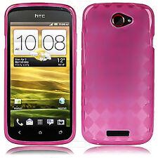 CUSTODIA Rombi Cover Guscio in TPU Gel ROSA per HTC ONE S con PELLICOLA Omaggio