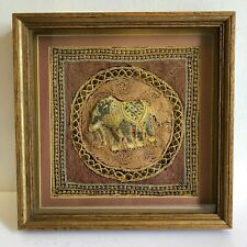 Antique Burmese Kalaga Tapestry Elephant beaded sequins Good cd shadow box frame