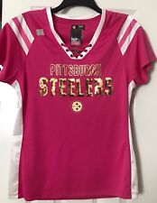 NWT Pittsburgh Steelers NFL Pink/White Gold Metallic Sequin Laceup Vneck Top LG
