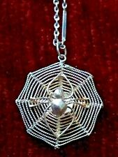 925 STERLING SILVER SPIDER WEB PENDANT NECKLACE & FREE GIFT BOX - Goth Gothic