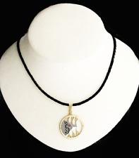 Black Leather Braided Swinger Symbol Necklace Lifestyle ID Pendant