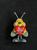 Vintage Be Mine Bumble Bee Heart Valentine Pin Yellow Red