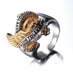 Real Stainless Steel Men's Biker Eagle 'Live to Ride Ride to Live' Ring 8-15
