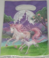 Unicorn Fantasy Plastic Party Loot Bags X8 Girls Birthday Pink Purple Magical