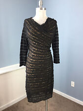 Max Edition S M Black Lace Overlay Sheath stretch Dress Cocktail party 3/4 slv