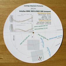 Ortofon RMG 309 & RKG 309 Design Personnalisé tonearm Cartouche Alignement Rapporteur