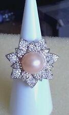 Fresh water peach pearl & sim diamond floral silver plated band ring sz V 1/2