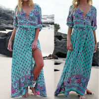Women Floral Maxi Dress Long Sleeve Evening Party Cacktail Prom Beach Dress 2018