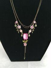 Necklace Pink Emerald Cut Pendant Dainty flower Pretty costume fashion jewellery