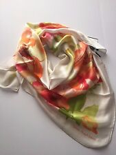 "NWT RALPH LAUREN FLORAL 100% SILK SQUARE SCARF 36"" x 36"" Ivory MSRP: $75"