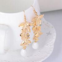 1Pair Fashion Flower Gold Orchid Matte Gold Long Dangle Hook Vintage Earrings