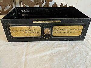 """Antique Vtg 11"""" Metal Medical Cabinet Drawer J&J PRODUCTS Gold Gilt Detail no 2"""
