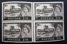 GREAT BRITAIN    S.G.#759 SCOTT# 525 WINDSOR CASTLE 2/6 PENCE  MINT VF NH BLOCK