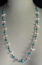 VTG Southwest Tribal Silver Tone Fetish Carved Bird Turquoise Shell Necklace D