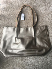 Saks fifth avenue (Saks 5th Ave ) Tote Bag Medium Size Leather gold