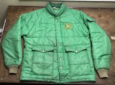 John Deere Jacket Vintage 80s Puffer Green Patch Work Wear Coat Large