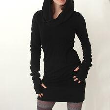 Womens Hoodies Tops Sweatshirt Casual Pullover Hooded Sweater Jumper Mini Dress