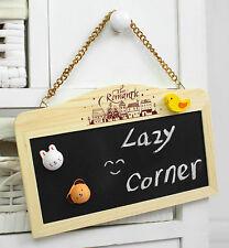 Wood Double-Sided Blackboard Chalkboard Kit Chain Hanging Message Home Decor