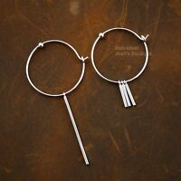 925 Sterling Silver Dangle Bar Circle Huggie Hoop Earrings Women A1567