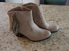 NEW Sam & Libby Womens Short Ankle Cowgirl Boots w/ Fringe Taupe Size 6 US