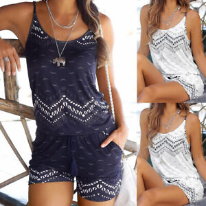 Womens Sleeveless Mini Playsuit Jumpsuit Summer Beach Home Tops Shorts Rompers