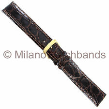 18mm Di Modell Brown Genuine Crocodile Stitched Aero-Lined Mens Watch Band XL