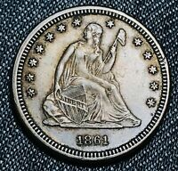 1861 Seated Liberty Quarter 25C High Grade Det. Civil War Silver US Coin CC5787