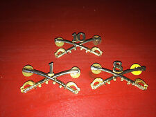 US Military Calvary Crossed Saber Hat/Collar Insignia Pins Lot - 3 Pins Total