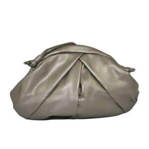 Borsa donna pochette oversize antracite arricciata linea veneta con tracolla pel