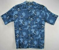 Puritan Mens S Hawaiian Shirt Blue Floral Swordfish Short Sleeve Button Front EC