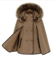 Winter Women's Strench Parkas Fur Collar Hooded Loose Cape Coat Outwear S-XXL